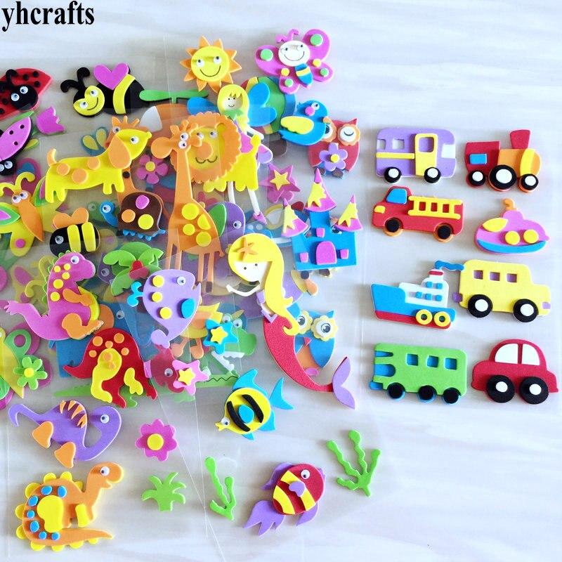 1 пакетов/лот, животные Санта Рождество автомобиль цветок Русалка Принцесса динозавр рыба Сова 3D наклейки из пены декоративные элементы diy игрушки подарки