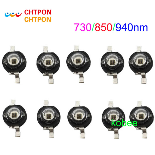 10 stuks x 3 Watt 3 W High Power led 850nm 940nm 730nm Infrarood LED IR voor Nachtzicht CCTV DIY