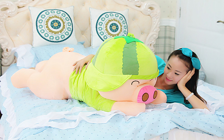 huge plush  pig toy cuddly toy big plush lying watermelon pig doll valentine's day gift about 100cm