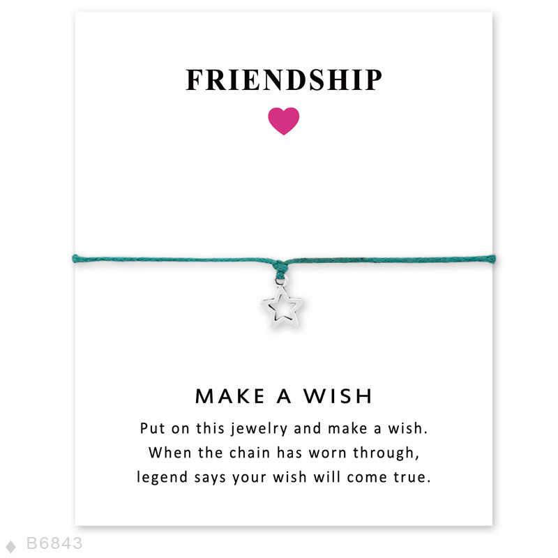 友情ステートメントジュエリーカードシルバーチャーム調節可能な願い事トリプル月や星ブレスレット女性のための