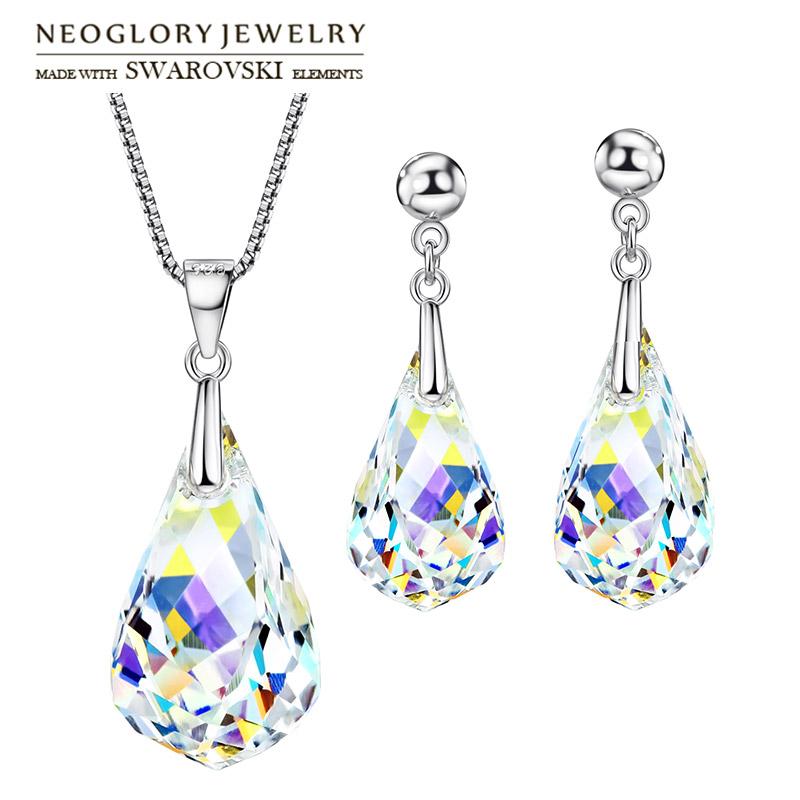 Neoglory MADE WITH SWAROVSKI ELEMENTS Crystal Jewelry Set Water Drop Style S925 Silver Plated For Women Gift Necklace & Earrings ewelink dooya electric curtain system curtain motor dt52e 45w remote control motorized aluminium curtain rail tracks 1m 6m