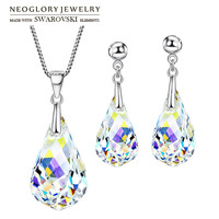 Neoglory MADE WITH SWAROVSKI ELEMENTS Crystal Jewelry Set Water Drop Style S925 Silver Plated For Women Gift Necklace & Earrings