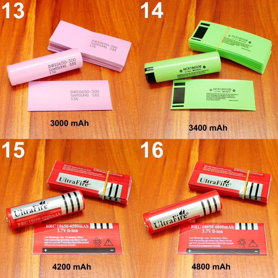 Купить с кэшбэком 100pcs/lot Lithium Battery Package Skin 18650 Battery Special PVC Plastic Heat Shrink Tubing Shrink Insulation Tubular Film