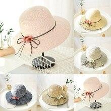 Пляжная женская шляпа, летняя, складная, соломенная, с бабочками, Пляжная, летняя, с широкими полями, verano mujer