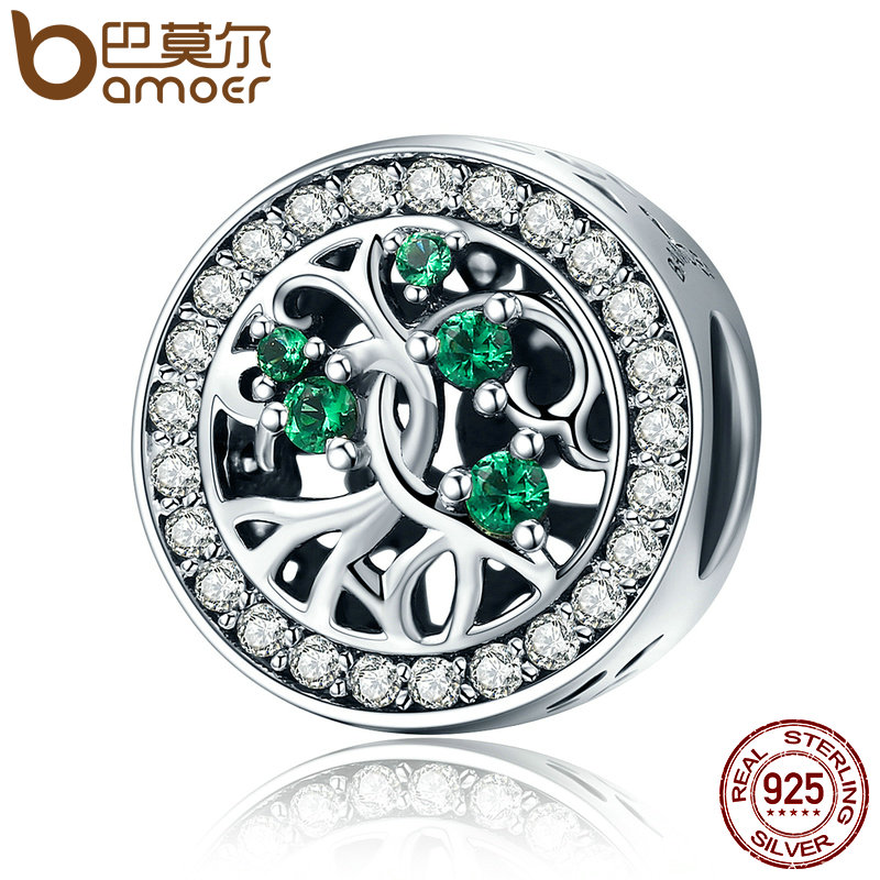 BAMOER Hot Sale Genuine 925 Sterling Silver Tree Of Life Beads Green CZ Charm fit Women Bracelets DIY Jewelry Gift SCC179