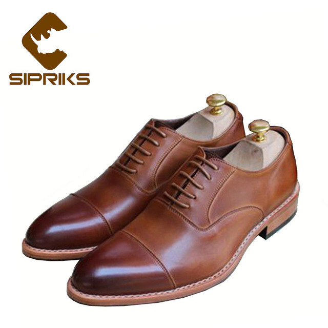 ee6a66a81ec3 Sipriks Italian Bespoke Goodyear Welted Shoes For Men Tan Brown Men s Dress  Shoes Elegant Formal Church Shoes Suits Men Flats