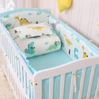 Cotton Baby Crib Bumper Set Dinosaur Print Elephant Cartoon Pattern Baby Bed Linen For Newborn Baby Sheet Bumper Pillowcase