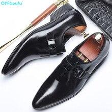 QYFCIOUFU 2019  Pointed Toe Buckle Strap Flats Wedding Dress Men Formal Shoes Genuine Leather Oxford Luxury Mens