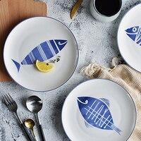 8 Inch Ceramic Flat Plate Bone China Dishes Cute Fish Pattern Porcelain Dinner Plates Salad Dessert