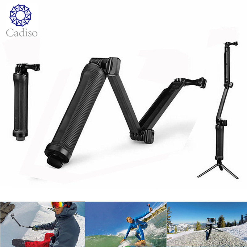 Cadiso Waterproof 3 Way Grip Monopod For Gopro Hero 5 6 4 Session SJ4000 Xiaomi Yi 4K Camera Go Pro Selfie Stick With Tripod Kit