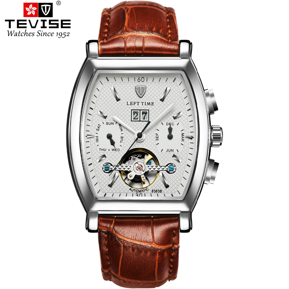 TEVISE Men Mechanical Wristwatches Rectangle Skeleton Man Watches Auto date Genuine Leather Wristwatch Man Week Display Relojes TEVISE Men Mechanical Wristwatches Rectangle Skeleton Man Watches Auto date Genuine Leather Wristwatch Man Week Display Relojes