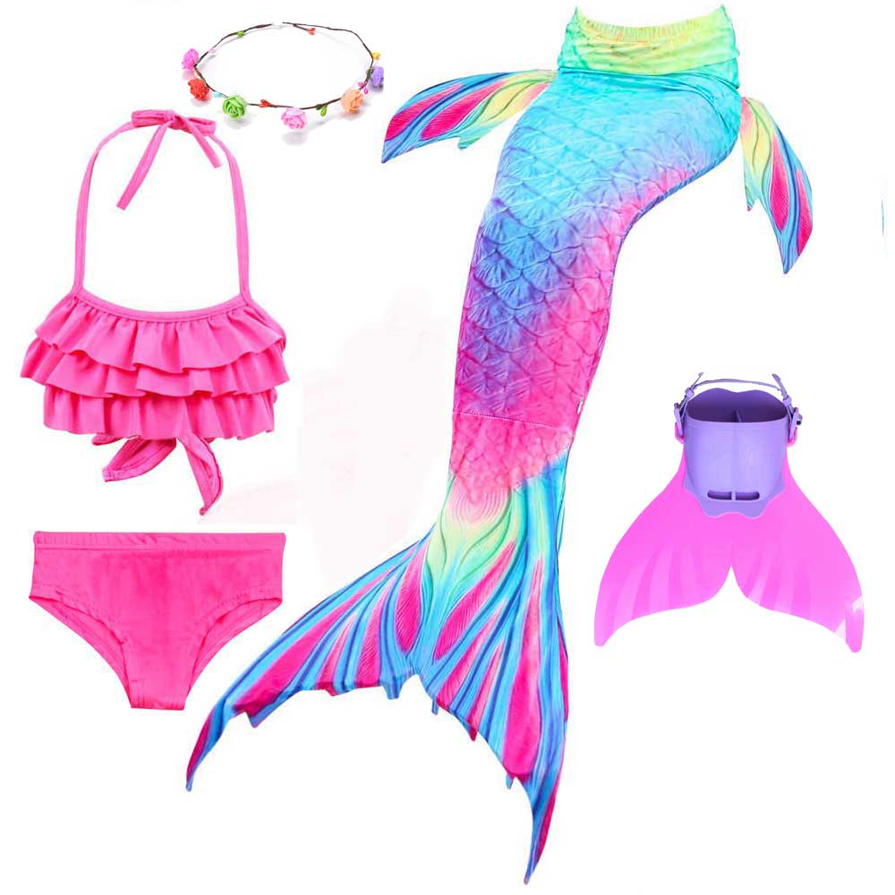 Mermaid Tail Costume For Girls Swimmable And Walkable Mermaid Princess Bikini And Sparkle Tail Swimsuit Cosplay