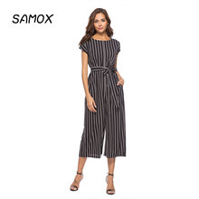JSMY Summer Sexy Striped Wide Leg straight Jumpsuit Calf-length Trousers
