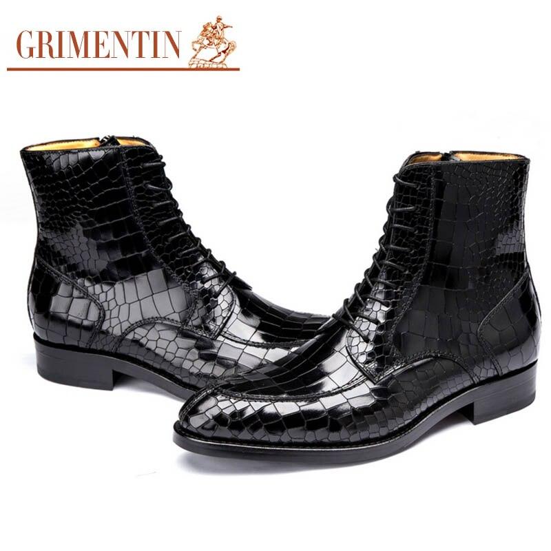 Couro Mens Grimentin Vestido Homens Crocodile Handmade Dos Ankle De Personalizado Luxo O G17 Black Para Marca brown Sapatas Boots Casamento Genuíno Moda 60r0qIA