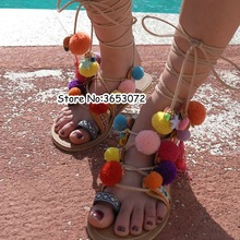 484a1a6bac3ca2 Hot Sale Colorful ball   Fringe Pompom Style Thong Flip Flops Lace Up  Tassels Gladiator Sandals