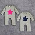 Mameluco del bebé de primavera 2016 de La Marca de Moda Bebé Moda Roupas de Bebe estrella impreso de Algodón de Manga larga Mamelucos Recién Nacido Bebé otoño mameluco
