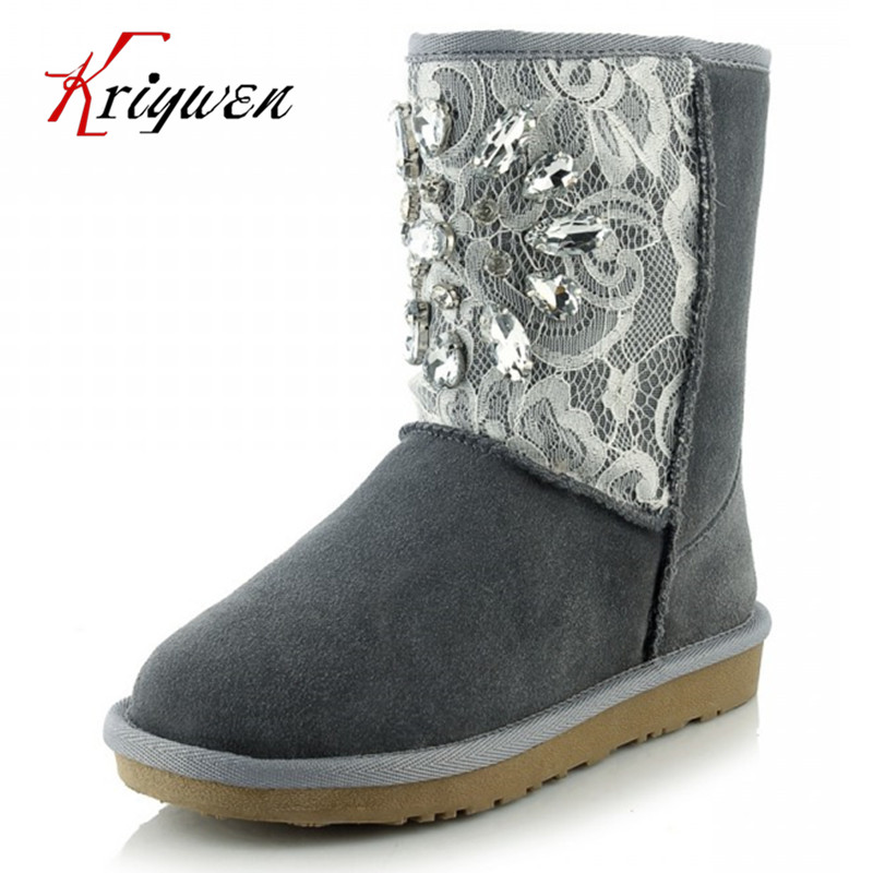 Top quality 2016 winter new rhinestone Snow Boots cow suede lady lace decoration flat Plush women's Shoes plus size 34-43 цена 2017
