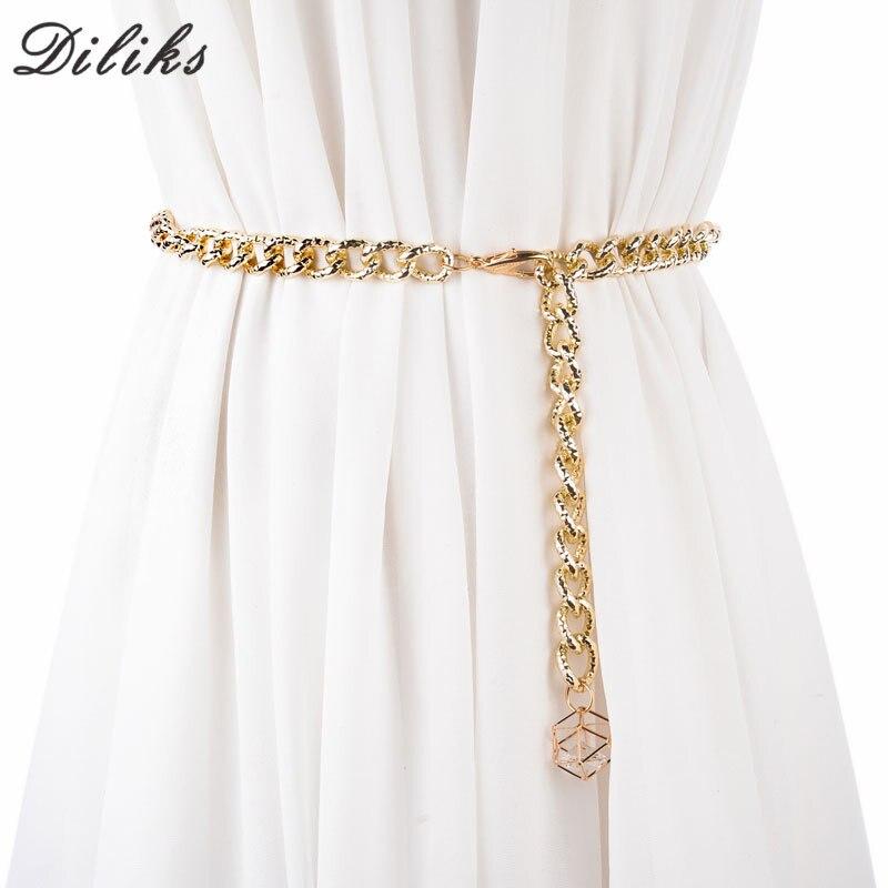 Diliks femmes Punk métal complet chaîne Style Skinny taille Ceinture métallique plaque d'or 1.2 cm larges chaînes dame Ceinture ceintures pour robe