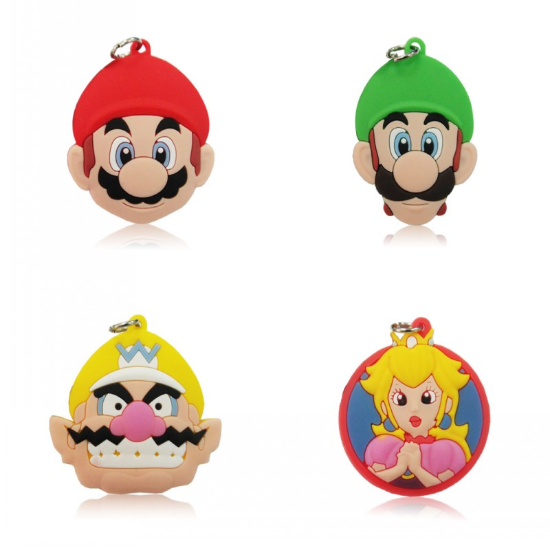 1PCS Super Mario PVC Cartoon Pendant Kids Anime Pendants Fit for Key chain Necklace Party Favor Supplies Children Gift in Pendants from Jewelry Accessories