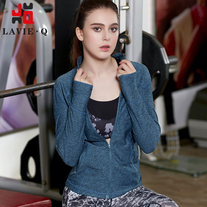 LAVIE.Q Brand 2017 New Running Fitness Yoga Female Long Sleeved Trainning & Exercise Jackets Breathable Absorbent Zipper Coat