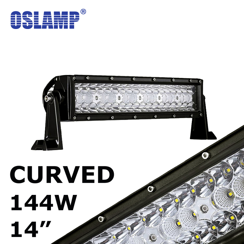 Oslamp 144W 14inch CREE Chips Combo Beam LED Work Light Bar 12V 24V 6000K Led Auto Lamp for Car SUV ATV RZR UTE Curved Led Bar oslamp 52 500w led offroad light bar cree chips combo beam led work light for jeep truck atv suv pickup 4wd 4x4 led bar 12v 24v