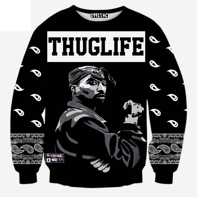 Európa és Amerika divat férfi hip-hop kapucnis nyomtatás Rapper - Férfi ruházat