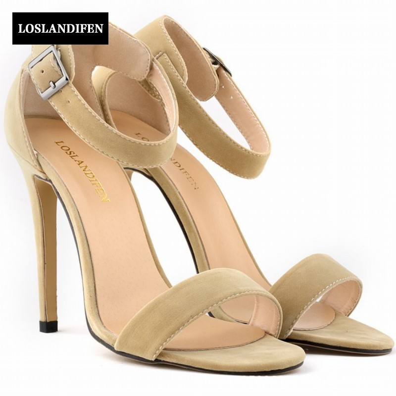 2017 Summer Sweet Fashion Faux Suede Stiletto For Women Buckle Strap Sandals Open Toe Wedding Shoes Chaussure Femme onn w6 bluetooth hifi music mp3 player 8g storage with earphones