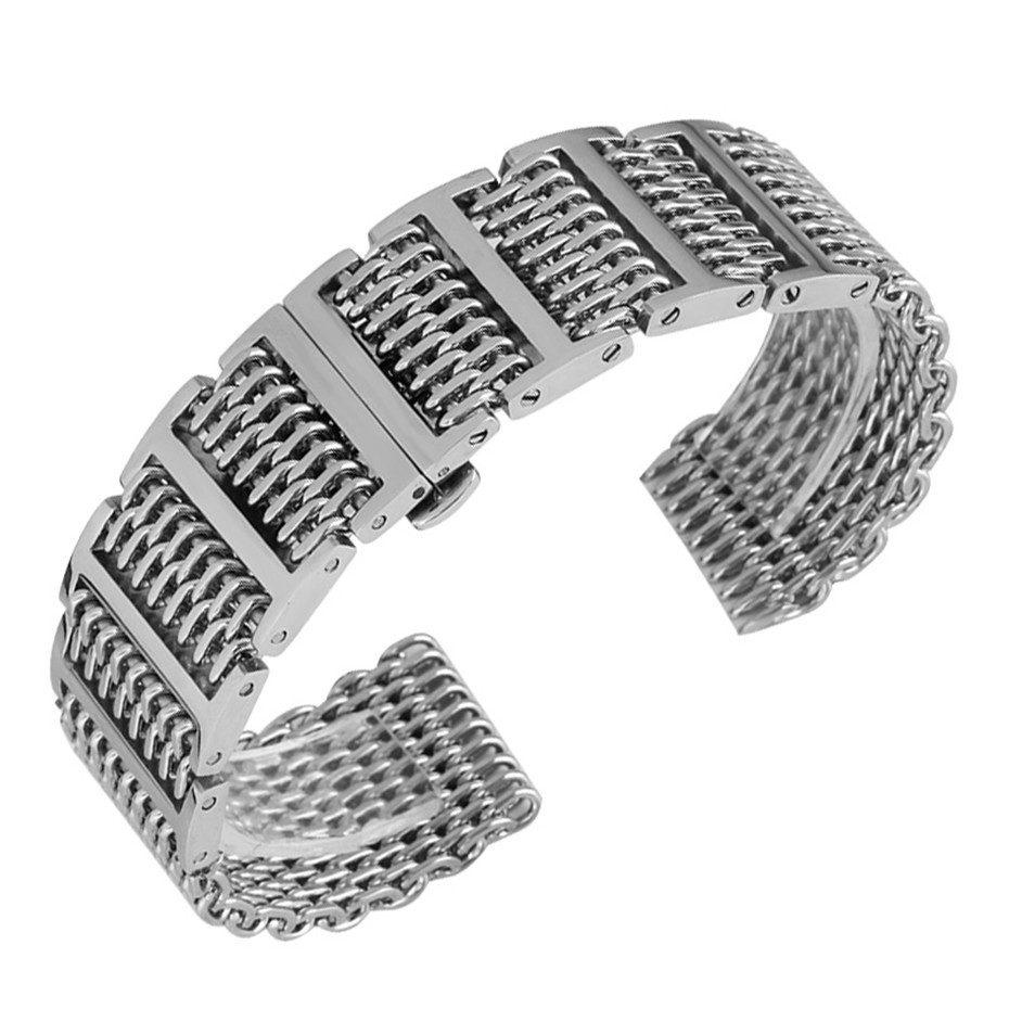 купить 20/22/24 mm Silver/Black Shark Mesh Push Button Hidden Clasp Men Stainless Steel Watch Band Watches Strap Adjustable Replacement по цене 2039.25 рублей