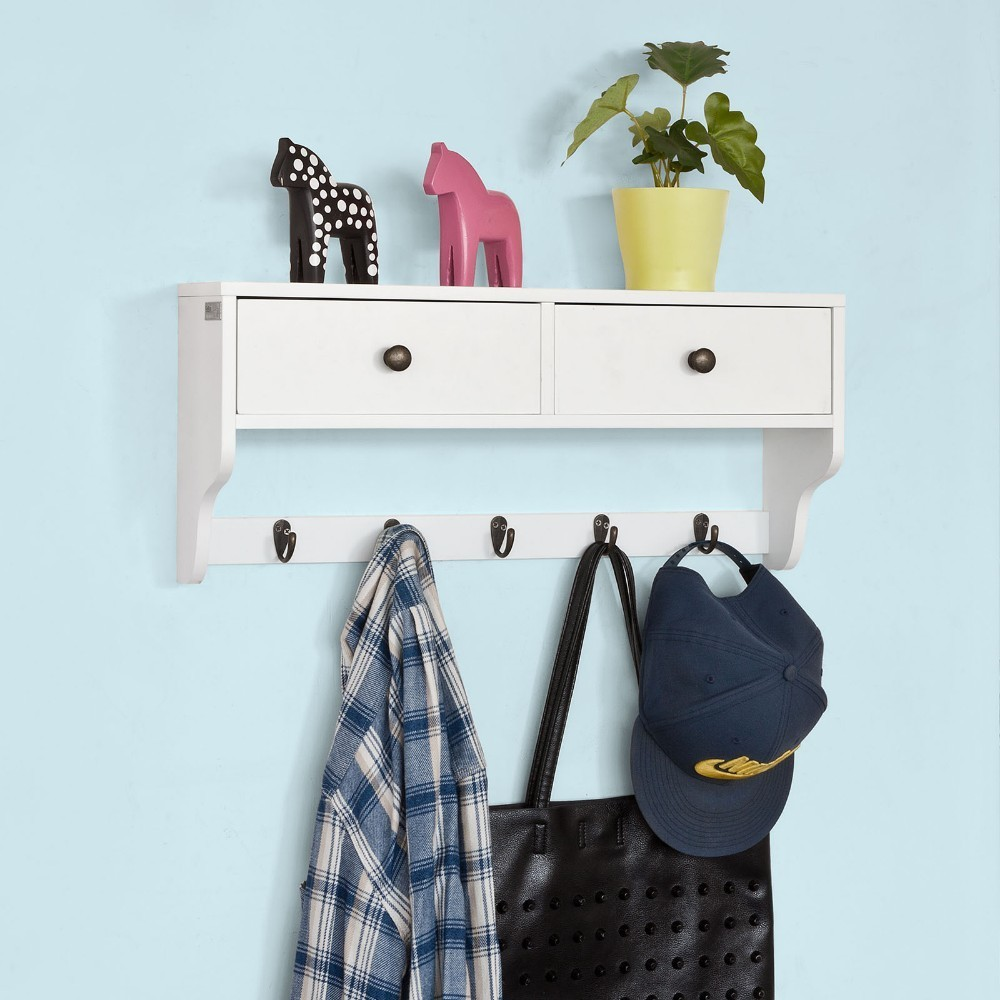 SoBuy FRG178-W, White Wall Display Storage Unit with 2 Drawers & 5 Hooks, Wall Coat Rack Kitchen Cupboard 73 5x66x33cm white wooden floor standing storage cabinet cupboard with 2 drawers and 2 doors dolap duzenleyici guardaroba