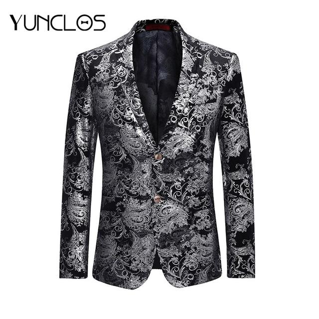 YUNCLOS 2019 Mode Hommes Costume Veste Printemps Deux Boutons Jacquard  Ruban Blazer Style Décontracté Slim Fit 268e9e7d1c1
