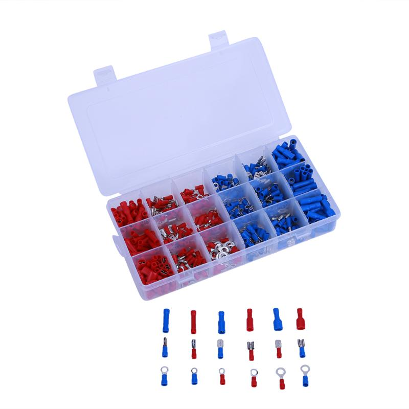 360pcs Electrical Crimp Terminals Insulated Butt Connectors Spade Ring Fork Assorted Insulated Electrical Wire Crimp Connector 1000pcs electrical wire connector insulated crimp terminals kit spade assorted set fork ring assorted set with box