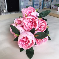 High Quality 10 Heads White/Red/Pink/Purple Real Touch Peony Bouquet Plastic Artificial Flower For Wedding Party Decoration