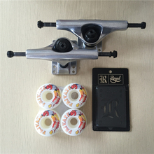 2016 Skateboard Parts Blank Silver Color Aluminum 5.25″ Skate Trucks And Private PU Skate Wheels with Royal Riser Pads