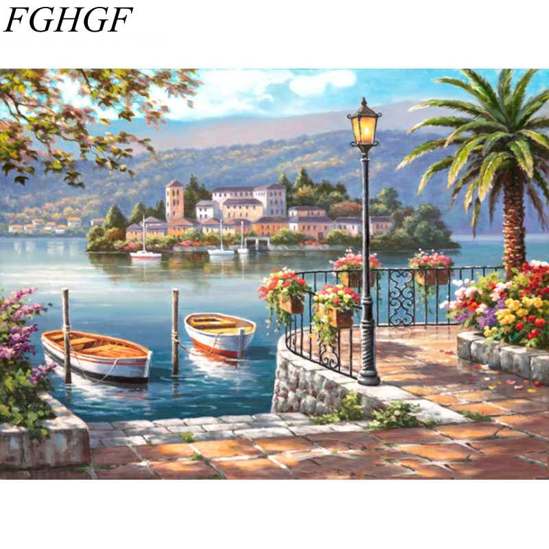 FGHGF Frameless Seaboat Modern Oil Painting By Numbers Hand Painted Home Decor Wall Art Picture Drawing Oil Painting