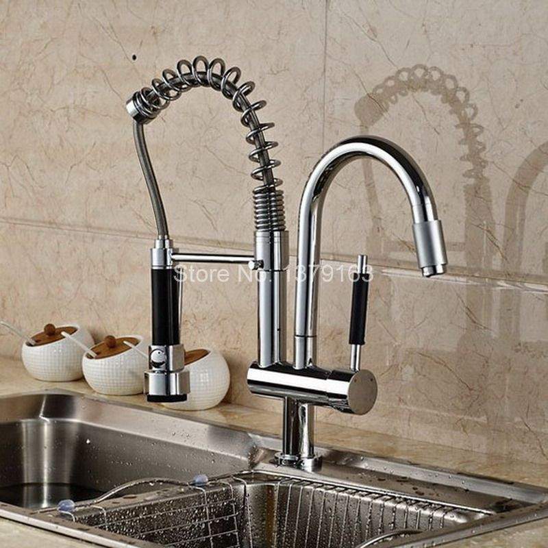 Polished Chrome Commercial & Home Pull Out Spray Swivel Spout Single Hole Kitchen Sink Mixer Tap / Faucet asf079 wanfan modern polished chrome brass kitchen sink faucet pull out single handle swivel spout vessel sink mixer tap lk 9906