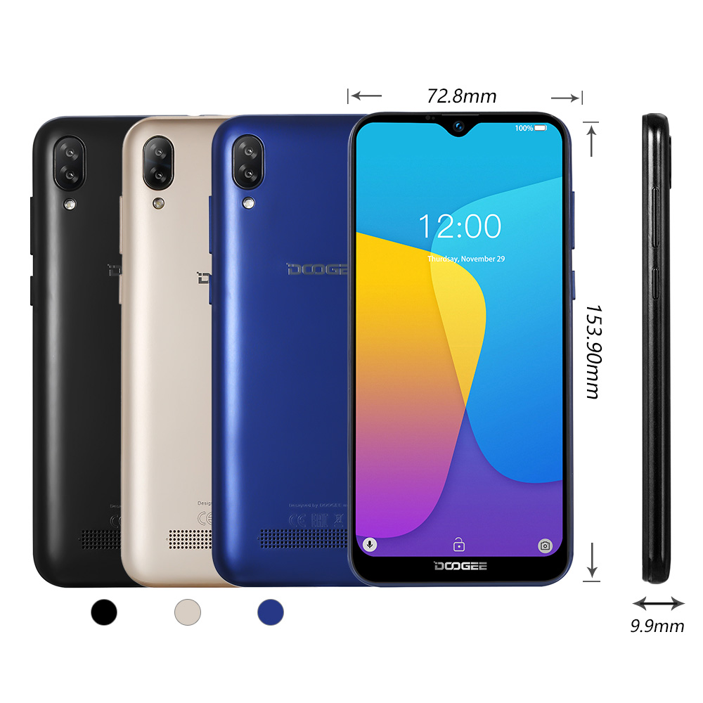 Original DOOGEE Y8C Android 8.1 6.1inch Waterdrop Screen Smartphone MTK6580 Quad Core 1GB RAM 16GB ROM  Dual SIM 8MP+5MP WCDMA