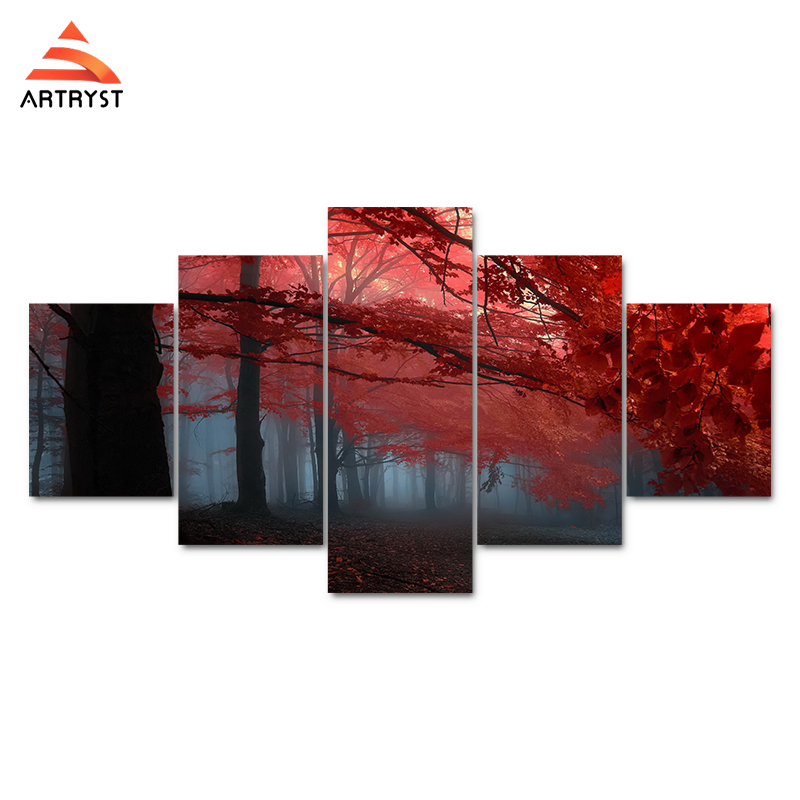 Artryst 5 Wall Art Kanvas Lukisan Pohon Merah Landscape Gambar Cetak - Dekorasi rumah - Foto 2