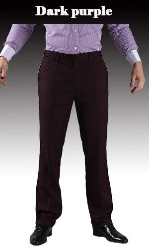 Тонкие брюки мужской формальный деловой Slim Fit Свадебный костюм брюки Diamond синий цвет красного вина черные брюки Размеры 44 плюс Размеры A37 - Цвет: Dark Purple