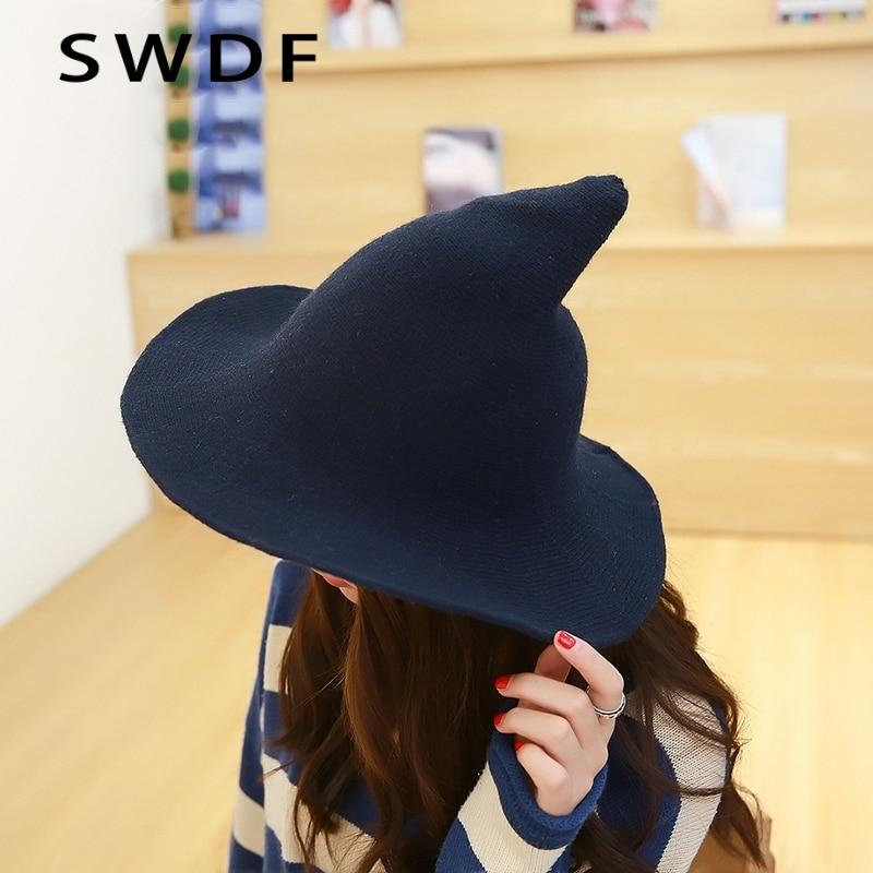 witch hat modern bucket pointed hats basin sheep along female fisherman knitting wool cap brim cosplay costume wide halloween womens