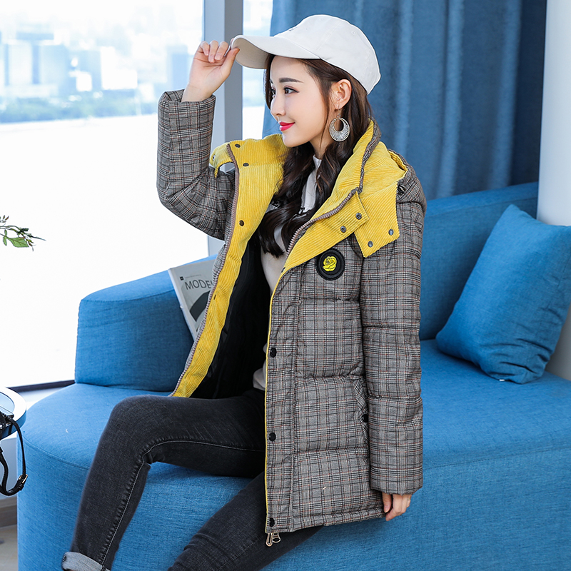 Nouvelle Vers 2018 Épais Hiver Vestes Mujer Mince Coton L Bas Courte Rouge Femelle Manteau Le Taille Mode xxxxxl Femmes jaune Plaid Plus Chaud Parkas wY4YqtTxr