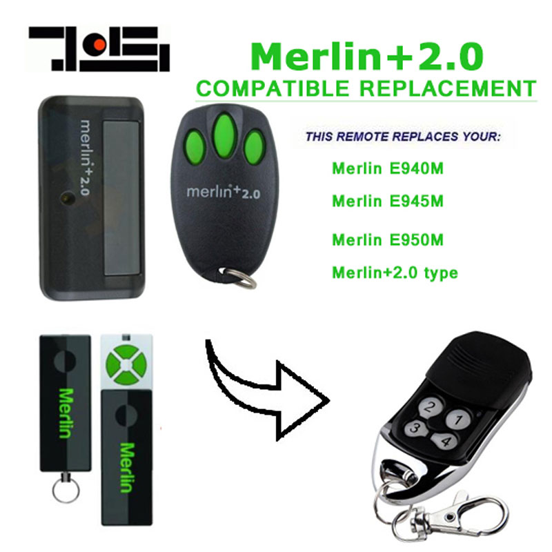 Wholesale 100 pcs Merlin+ 2.0 type Merlin E945 E950 Compatible Garage/Gate Door Opener Hand Remote Control Security +2.0 стоимость