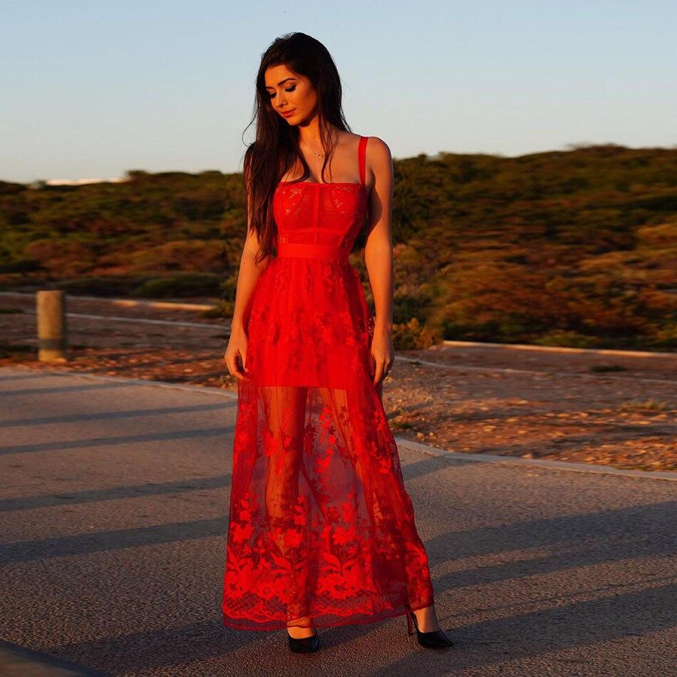 Femmes longue robe de pansement élégant sans manches soirée robe de soirée Club été mode Vestidos dentelle dames vêtements Vestidos