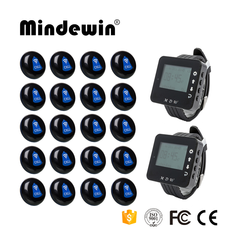 Mindewin Restaurant Pager Wireless Calling System 20pcs Call Transmitter Button+2pcs Watch Receiver 433MHz Catering Equipment wireless pager system 433 92mhz wireless restaurant table buzzer with monitor and watch receiver 3 display 42 call button