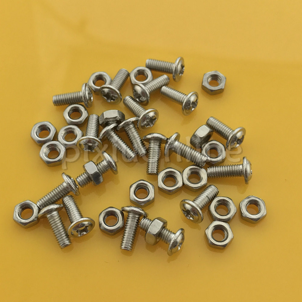 NOLOGO GSMLS 3mm 4mm 5mm 6mm Cross Recessed Pan Head Screws M3 M4 M5 M6 X 8 10 12 14 16 20 25 30mm Round Head Bolts with Nuts and Washers Size : M3x10mm 30Sets