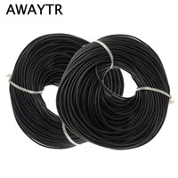 Awaytr 50M Length A Lot 2 5mm Black Round Real Leather Jewelry Cord Diy Bracelet Necklace