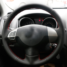 цены Free Shipping High Quality cowhide Top Layer Leather handmade Sewing Steering wheel covers protect For Mitsubishi Colt