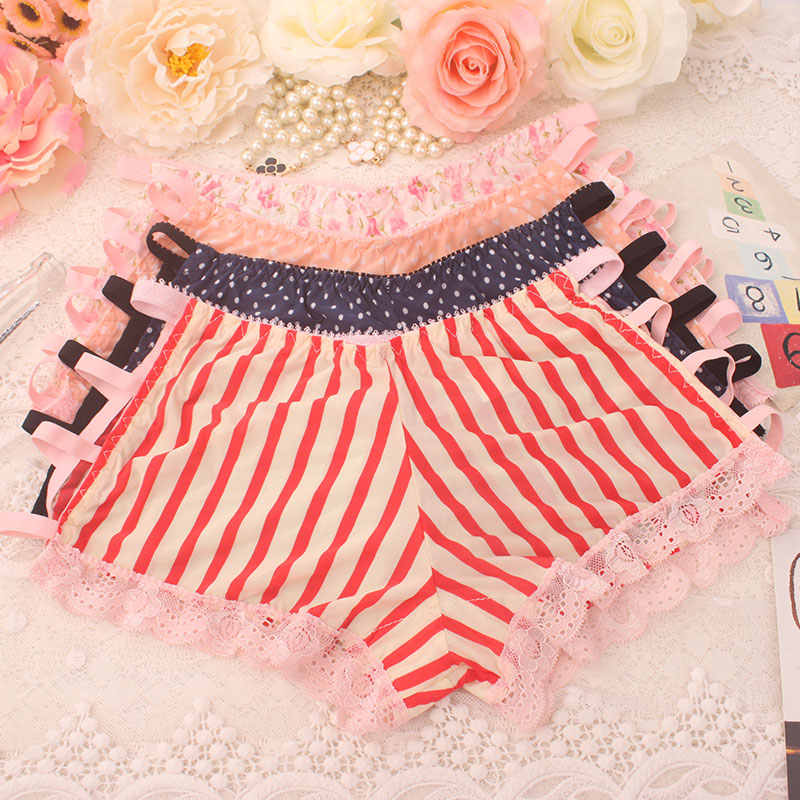 e92005fc09 ... Adorable girl underware Princess panties summer lace briefs waist size Japanese  cuecas small dot female underpants ...