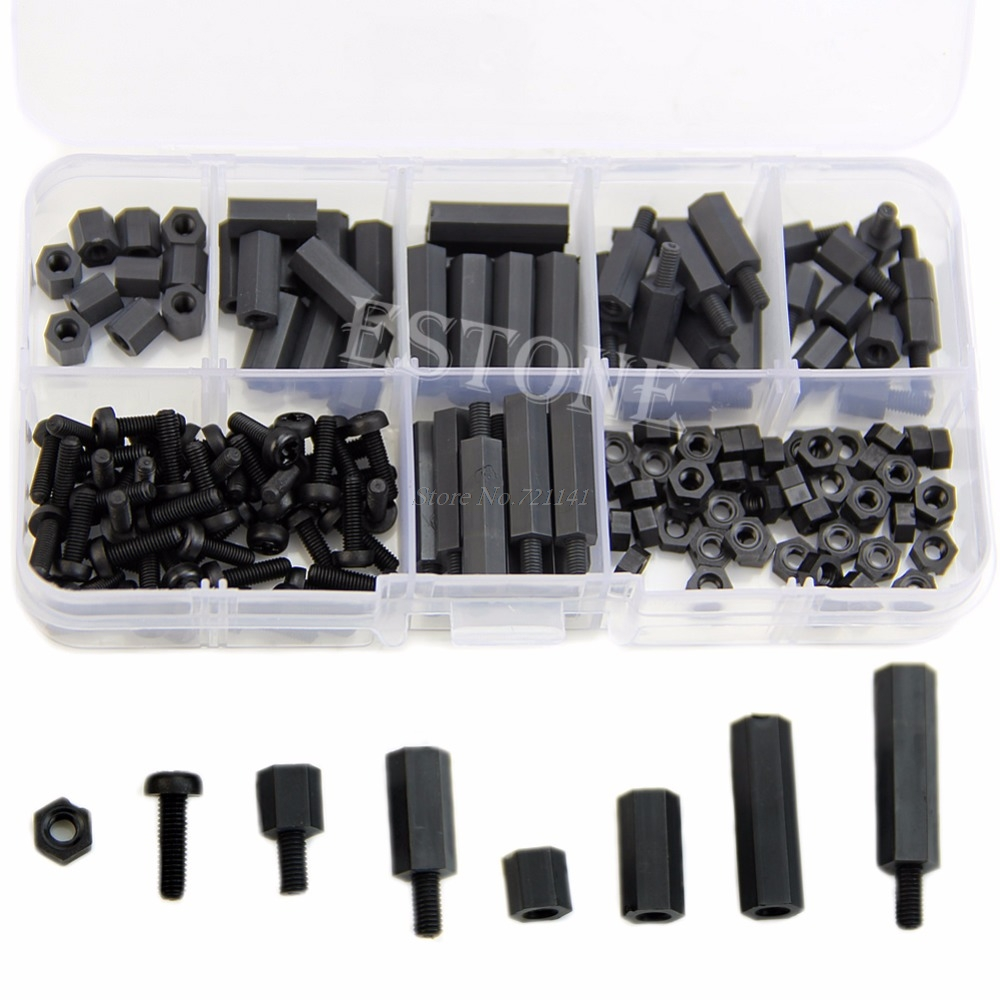 M3-160pcs Nylon Screw Black Hex M-F Spacers/ Nuts /Screws Assorted Kit, Standoff Hot