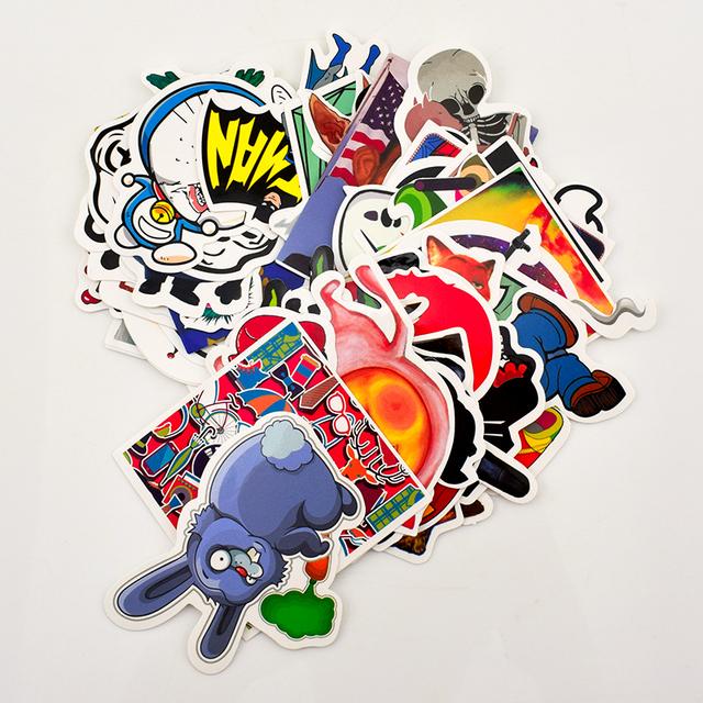 Waterproof Mixed Cartoon Vinyl Stickers for Laptop 50 pcs Set