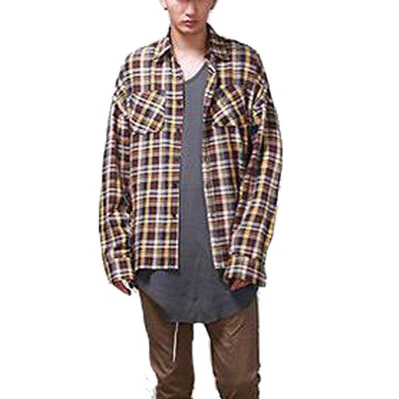 Fashion Hi Street Mens Casual font b Tartan b font Shirts Long Sleeve Streetwear Plaid Shirt